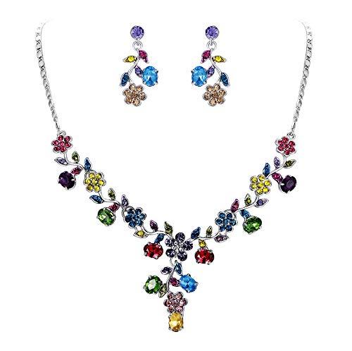 Ever Faith Österreichische Kristall Hochzeit Blume Blatt Halskette Ohrringe Set bunt Silber-Ton