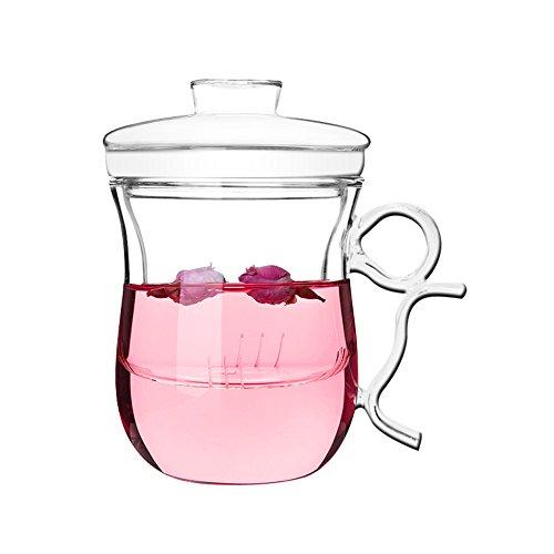 Vaso para té (transparente, 350 ml, vidrio de borosilicato, doble capa con infusor y tapa)