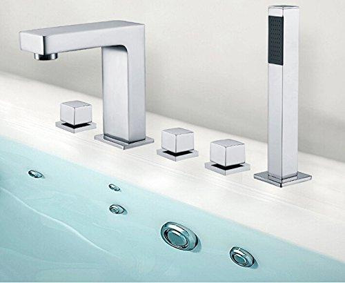 Nuovo arrivo di alta qualità totale in ottone cromato 5PCS deck-mounted vasca da bagno vasca rubinetto miscelatore White