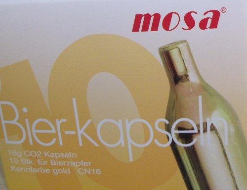 30 Stück 16 g CO2 Mosa Bierkapseln für Zapfanlagen z.B. Bier Maxx Zapfprofi