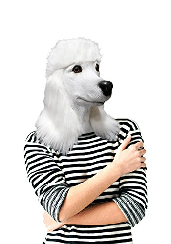 n TM 746550380376 weiß Pudel Full Head Latex Hund Maske Fancy Kleid Halloween Tier Hunde, Unisex, ONE SIZE ()