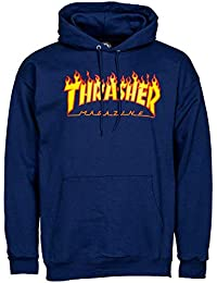 7293088eddb Thrasher Flame Logo Hoody Navy Blue Small