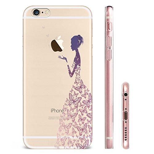 IPhone 6 plus Hülle, Schutzhülle Case Silikon- Clear Ultra Dünn Durchsichtige Backcover TPU Case für iPhone 6plus 6splus Lila Schmetterlings-Mädchen
