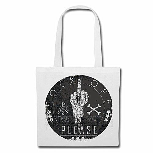Tasche Umhängetasche Fock of Please STINKEFINGER Bad Bones Crew Vintage Lifestyle Fashion Gothic Biker Street WEAR Paris Mailand New York Einkaufstasche Schulbeutel Turnbeutel in Weiß