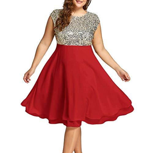 MMOOVV Kleid Mode Frauen Größe O-Ausschnitt einfarbig ärmellos Reißverschluss Chiffon Pailletten Cocktailkleid Abendkleid Kleid (Rot XL) (Korsett Oben Schwimmen)