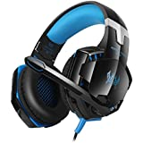 GranVela GS600 Professional All-round Gaming Headset with Mic for Xbox 360 and PS4 PS3 Headphones Compatible Controller PC Computer Laptop Mobile Phones -Red Blue