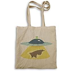 Bolso de mano para la compra con estampado de abduccion de un oso