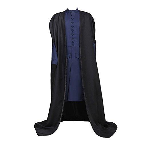 Cosplayitem Herren Mittelalter Jacke Lange Vintage Kleid Zauberer Kostüm mit Umhang