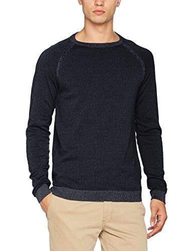 JACK & JONES Herren Pullover Jcoryde Knit Crew Neck Blau (Sky Captain Detail:W. White-Knit Fit), Large (Jack Baumwolle)