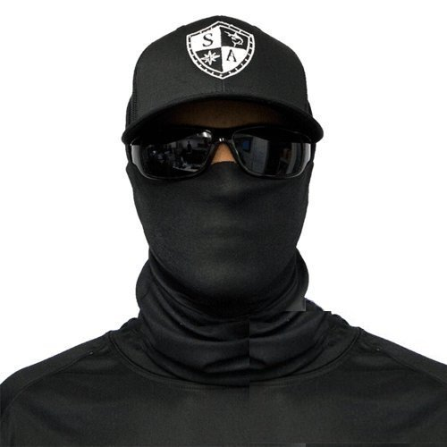 SA Fishing Face Shields ** 40+ Designs verfügbar ** Qualitäts Bandana/Multifunktionstuch/Schlauchtuch/Halstuch aus Stoff & SPF 40 - Face Masks von SA Company, Tactical Black -
