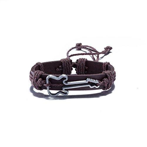 Las mujeres y los hombres pulsera de cuerda de piel color marrón Vintage joyas Punk pulsera de metal pulsera