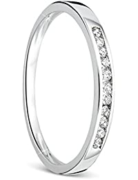 Orovi anillo de señora compromiso/aniversario 0.10 Ct diamantes en oro blanco de 9k ley 375