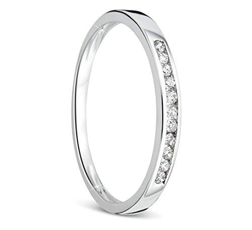Orovi anello donna eternity con diamanti taglio brillante ct 0.10 in oro bianco 9 kt 375