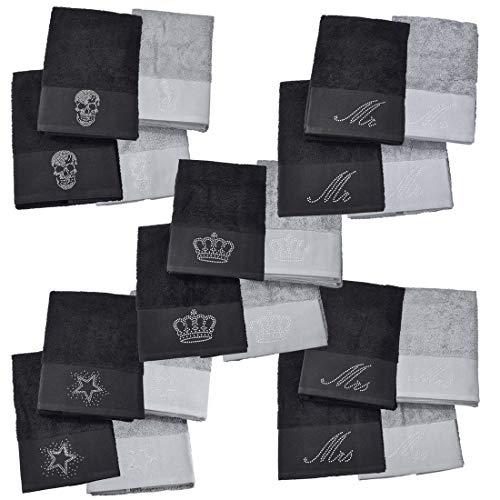 DONE Handtuch Doppelpack Black-Line Stone - 5 Motive mit Strass-Steinen in schwarz oder Silber - Exklusives Frottee Set 100% Baumwolle, Farbe:Black 4203, Größe:Skull_B05