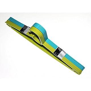 ASIS nettrade Praktische Kleiderbügel - 20 Stück - aus Kunststoff - blau grün - spieziell für Blusen Hemden - paltzsparend - preisgünstig