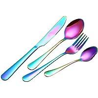 BESTONZON Set de Cubiertos de Acero Inoxidable Incluyen Cuchillo Tenedor Cuchara Cucharilla 4 Piezas (Colorido)