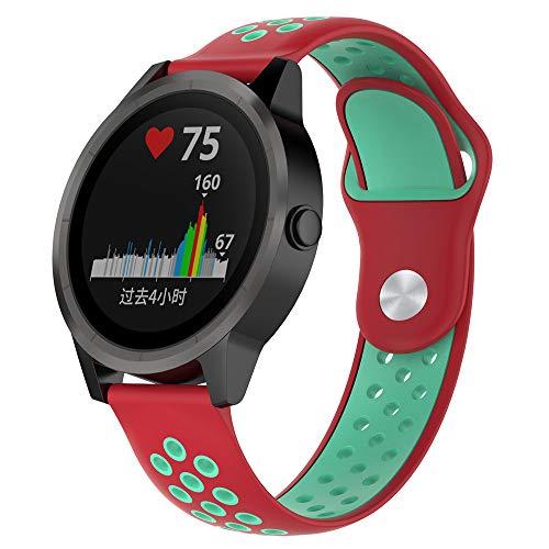 JiaMeng para Garmin vivoactive Reloj,Banda de Reloj de Silicona Suave reemplazo Reemplazo Correa de Reloj de Silicona Suave(Rojo + Verde Azulado)