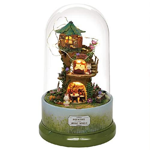 POWER Glaskugel Puppenhaus Miniatur DIY Puppenhaus Mit Möbel Holzhaus Spielzeug Für Kinder Geburtstagsgeschenk Mit Staubschutz Musik (Wald Launisch)