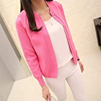 Yangshan New Spring Summe 2019 Female Knit Cardigan Sweater Coat Short Female a Little Shawl Knitted Jacket Female 12 Color (Color : Rose, Size : M)