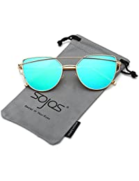 6996c80478 SojoS Cat Eye Mirrored Flat Lenses Street Fashion Metal Frame Women  Sunglasses SJ1001