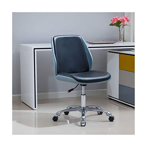 WANGZRY Höhe Einstellbar Aufgabe Stuhl Modernen Bugholz Büro Stuhl Sitz mit Multi-Directional Räder Computer Stuhl Armless Möbel,Black-Blue -