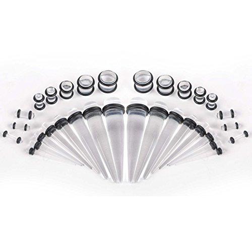 iDealhere 32pcs Tunnels Ear Plug Piercing Set Acrylique Inoxy 1,6mm-10mm Cierges & Boucle d'Oreille Jauges Plugs (noir) clair