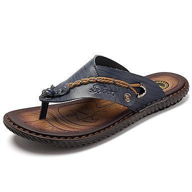Slippers & amp da uomo; Anello da piede similpelle primavera-estate casuale Tallone piano Blu Marrone Sabbia piatto sandali US7.5 / EU39 / UK6.5 / CN40