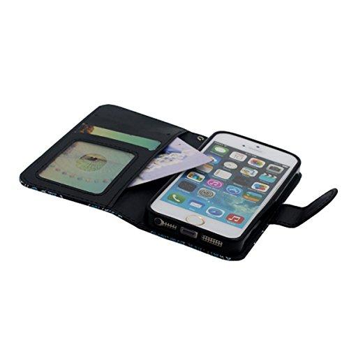 Rabat Portefeuille Carte Titulaire iPhone SE Coque, Mignonne Tortue Motif, multi Function PU Cuir iPhone 5 5S Housse Etui Protection Noir-1