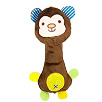 Weimay. Newborn Infant Baby Rattles Ring Plush Toys Handbell Grab Soft Stuffed Rattle Toys for Toddler Monkey