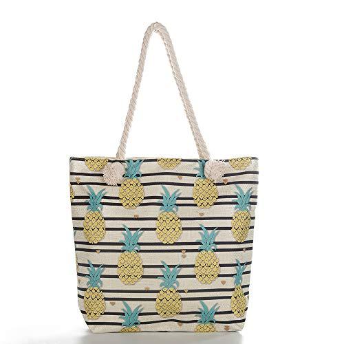FIYOMET Fyomet Frauen Umhängetasche Obst Leinen Mode Handtaschen Hobo Taschen Ananas Muster Dickes Seil Druck