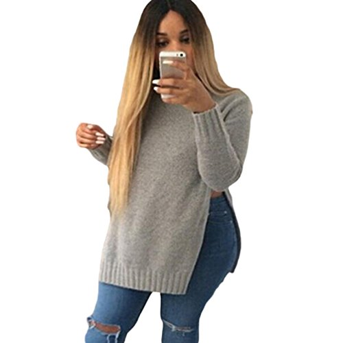 WanYang Femmes Automne Hiver Pull Couleur Unie Sexy Pull Casual Mode Pullover A Manches Longues A Col Rond Gris