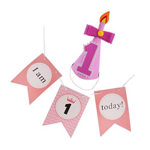 MagiDeal Stuhl Wimpel Girlande Süße Bunte Stuhl Wimpelkette Farbenfroh Wimpeln + Geburtstag Party Kegel Hüte für Babyparty (Kegel Hüte Schnurrbart)