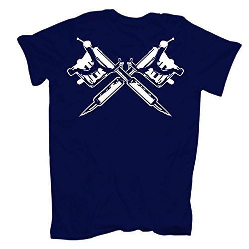 Männer und Herren T-Shirt Schmerz ist vergänglich - Tattoos sind für immer (mit Rückendruck) körperbetont dunkelblau