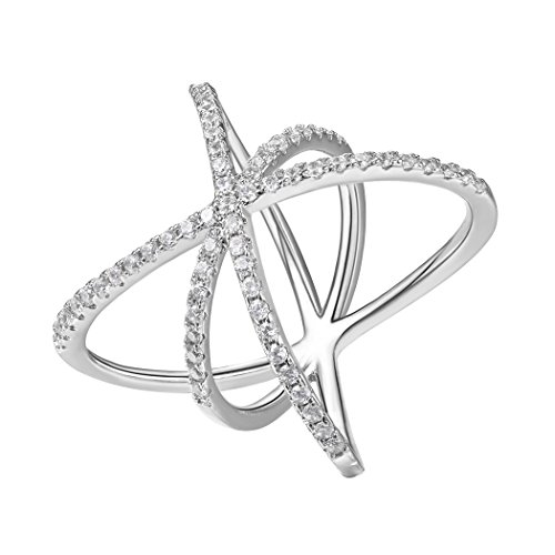 Mom-ring-schmuck (Suplight Damen Ring Fantasie Böhmisch Boho Statement Ring platiniert Zirkonia Bandring Partnerring Fingerring Schmuck für Hochzeit Verlobungsfeier 62(Silber))