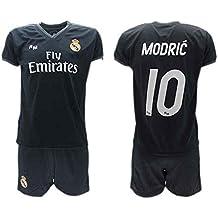 Conjunto 2ª Equipación Fútbol LUKA MODRIC 10 Real Madrid C.F. NEGRA Away Temporada 2018 - 2019