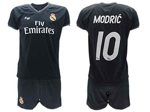 Komplett Offiziell Fußball Luka Modric 10 Real Madrid C.F. Zweite Trikot SCHWARZ Saison 2018-2019 Replica OFFIZIELLE mit Lizenz - Geschenkbox Shirt + Shorts (8 Jahre) -