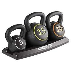 Idea Regalo - Set di 3 kettlebell Mirafit con supporto - Pesi da 5, 10 e 15 libbre (2,2/4,5/6,8kg)