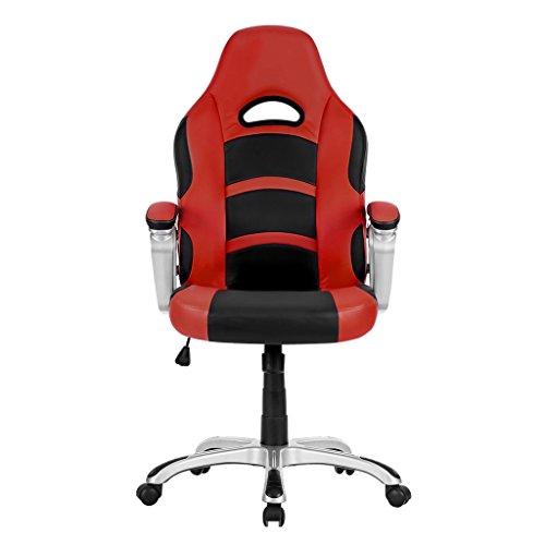 LANGRIA Racing Style Silla de Oficina de Cuero de la Computadora  Giratorio de 360 Grados  Apoyabrazos bien Acolchado  Respaldo Alto  Diseño Moderno y Ergonómico  Altura Ajustable  (Negro y Rojo)