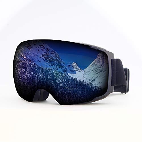 Mouncahin Masque de Ski Professionnel pour Femme, Homme et Porteur de Lunettes, 100% Anti-UV, Anti-Brouillard Masque de Ski pour protéger Les Yeux Lors de activités en Plein air