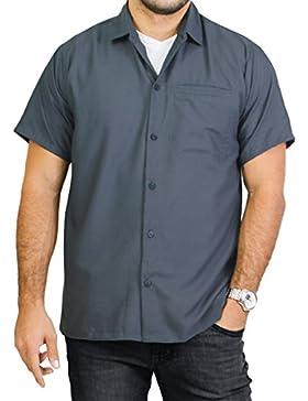 La Leela viscosa color sólido playa gris llano nadar camisa hawaiana para hombres
