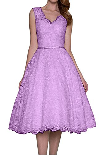 TOSKANA BRAUT Damen Elfenbein Elegant kurz knielang V-Ausschnitt zwei Traeger Spitze Guertel Applikation Hochzeitkleid Abendkleid Heimkehr Kleid Lila