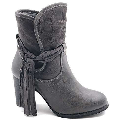 Angkorly - Zapatillas de Moda Botines cavalier bimaterial flexible mujer fleco multi-correa granulado Talón Tacón ancho alto 9.5 CM - plantilla Forrada de Piel - Gris F2087 T 40