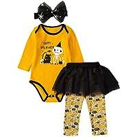 Sallydream- Vestido Niña Mameluco de Halloween a Rayas para bebés y niños pequeños + Falda de Tutu + Hairband