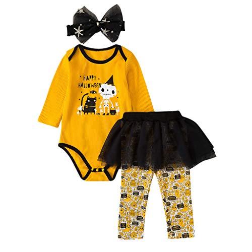 Jaysis Kids Gestreifter Kinderspielanzug + Tutu Rock Hosen + Haarband 3pcs Weihnachten Allerheilige Karneval Geburtstag Kleider Für Mädchen Baby Tutu-Kleid - Comic Con Kostüm Für Jungs