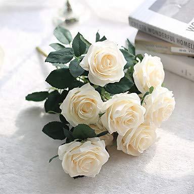 Xqi wangpu Künstliche Blumen 5 Zweig Klassische Hochzeit europäische Rosen Tischplatte Blume, Creme - Kopf-tisch-mittelstücke