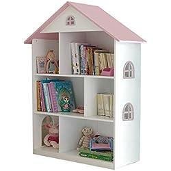 Liberty House Toys Bibliothèque Blanche en Forme de Maison de poupée avec Toit Rose, en Bois, Blanche et Rose, 83x 30x 106,5cm