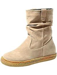 Coolcept Hombre Plano Calido Botas De Nieve con Cordones Invierno Zapatos (39 EU, Brown)