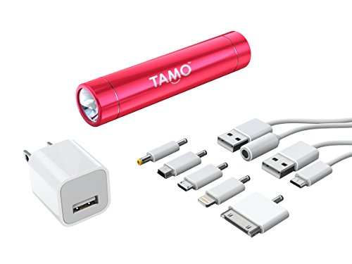 TAMO MOTA 2600 mAh Universal USB Portable Power bank Battery Stick Flashlight Bundle for iPhone 6, iPhone 6 Plus, iPhone 5/5s, iPhone 4/4s, iPad Mini, Samsung Galaxy S6, Samsung Galaxy S5, Samsung Galaxy S4, Kindle and other mobile devices - Pink