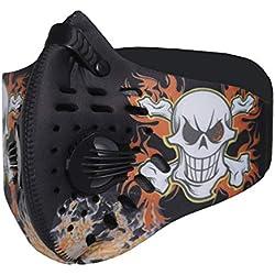 SKYSPER Masque de Sport en Nylon Protection Masque du Vélo Respiratoire Anti-Poussière Anti-Pollution avec PM2.5 Filtre de Cartouche Masque pour Sport Moto Vélo Ski Activités en Plein air