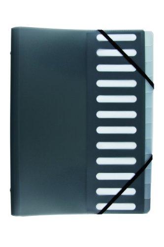 Idena 376083 - Ordnungsmappe DIN A4, mit 12er Register, schwarz